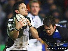 Ryan Lamb claims a kick against Bath on Saturday
