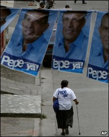 Posters of Porfirio Lobo in a street in Honduras
