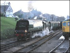 Capital Christmas Express leaving Swanage (copyright: Andrew P.M. Wright)