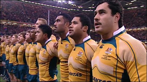 Australia sing Advance Australia Fair  ahead of their clash with Wales at the Millennium Stadium, Cardiff, in 2009