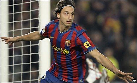 Barcelona striker Zlatan Ibrahimovic wheels away in celebration after his goal against Real Madrid