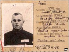 World War II-era military service pass for John Demjanjuk, which his defence lawyers say is a fake