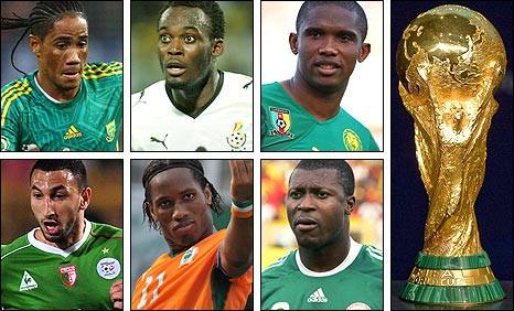 Clockwise from top left: Steven Pienaar, Michael Essien, Samuel Eto'o, the Jules Rimet trophy, Yakubu, Didier Drogba and Nadir Belhadj