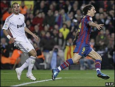 Barcelona's Zlatan Ibrahimovic (right) celebrates hitting the winner against Real Madrid
