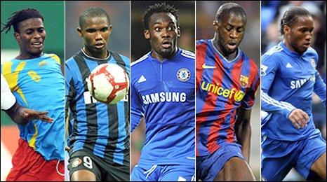 Tresor Mputu Mabi, Samuel Eto'o, Michael Essien, Yaya Toure and Didier Drogba