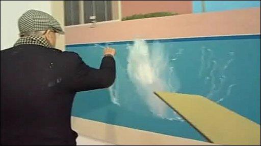 David Hockney points out details on A Bigger Splash