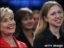 File photo of US Secretary of State Hillary Clinton (l) and Chelsea Clinton, September 2009
