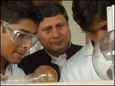 Professor Vinod K Sing, director, Indian Institute of Science Education and Research Bhopal, with students