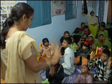 Children at a school and clinic in Bhopal