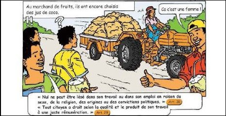 Cartoon showing Malagasy people