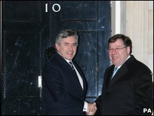 Gordon Brown and Brian Cowen at Downing Street