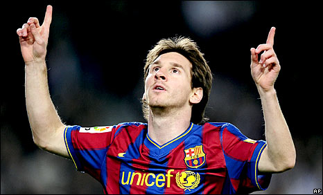 Ballon dOr winner Lionel Messi points to sky