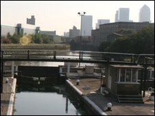 Canal with Canary Wharf in distance