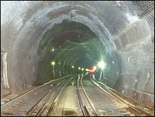 Inside Southampton tunnel