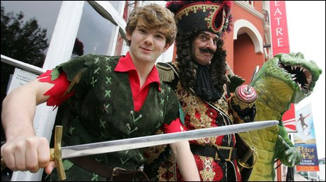 Harry Francis as Peter Pan and Granville Saxton as Captain Hook - in Peter Pan at Brighton's Theatre Royal.