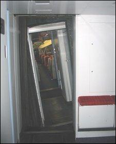 Inside the derailed train