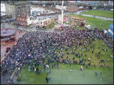 Aerial photo of switch-on chaos in Birmingham
