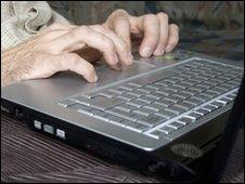 Man uses computer