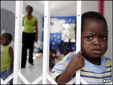 A child at Nkosi's Haven, a shelter for Aids victims in Johannesburg