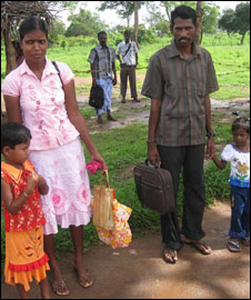 A refugee family in Sri Lanka