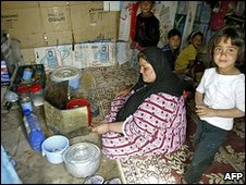 Displaced Iraqi family in Baghdad