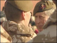 Prince Charles meeting Welsh Guards
