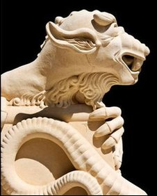 A stone dragon which adorns Lincoln Cathedral