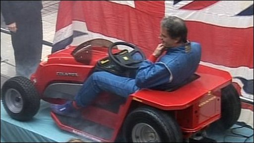 Don Wales in the lawn mower