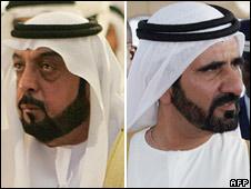 Emirati President Sheikh Khalifa bin Zayed Al Nahayan [l] and Dubai ruler Sheikh Mohammed bin Rashed Al Maktoum [r]