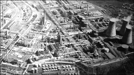 Black and white aerial view showing the enormous scale of Llandarcy