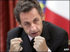 French President Nicolas Sarkozy at the Elysee Palace in Paris on 26 October 2009