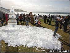Artificial snow playground on Sydney's Bondi Beach