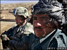 US soldier and Afghan policeman