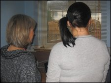 Somerset social worker (l) with client