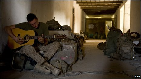 US Marine at forward operating base in Helmand