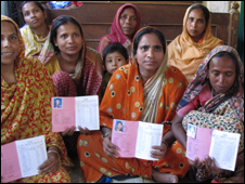 Bangladeshi women who have benefitted from Grameen Bank loans
