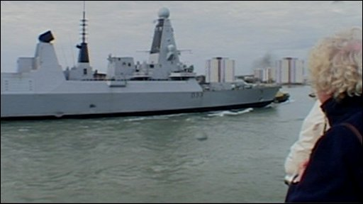 HMS Dauntless arriving in Portsmouth on Wednesday
