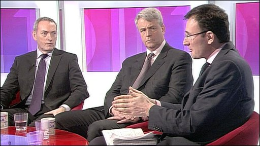 John Hutton, Andrew Lansley and James Landale