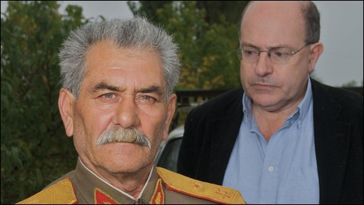 John Sweeney (right) with a Stalin impersonator