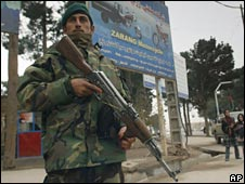 An Afghan government soldier in Herat, west of Kabul. File photo