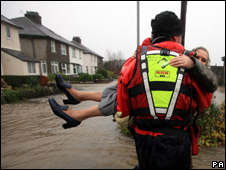 A rescue in flood hit Keswick
