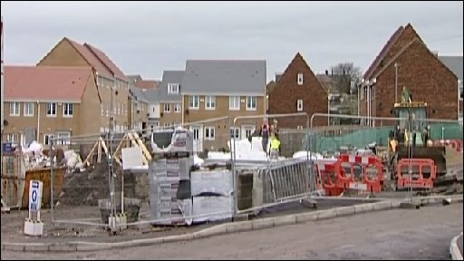 New build houses in Consett on the site of the former steel works.