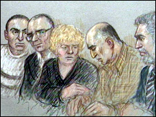 Court sketch of Mehmet Goren collapsing (by Julia Quenzler)
