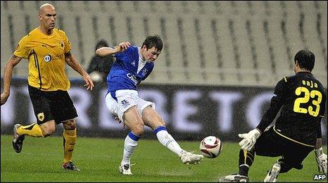Everton midfielder Diniyar Bilyaletdinov
