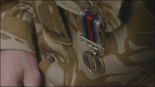 Soldier wearing medal