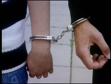 Two people joined in handcuffs