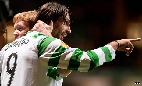 Barry Robson congratulates Georgios Samaras after the opening goal
