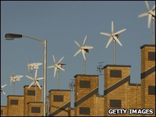 Wind turbines on houses in London