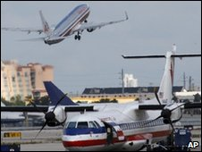 American Airline planes on the runway
