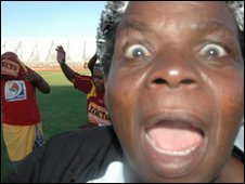 A granny celebrates after a friendly match in Nkowankowa